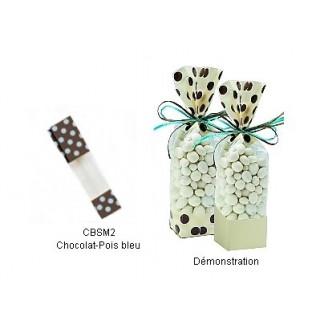Sac en cellophane Chocolat-Pois bleu