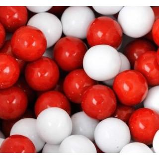 Perle chocolatée 10 mm Blanc et rouge