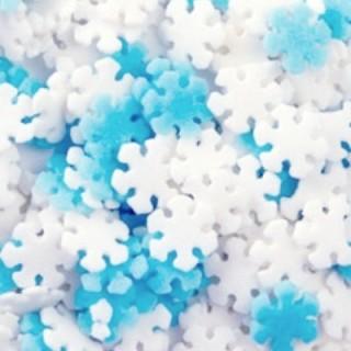 Mini sucre Flocon de neige blanc et bleu