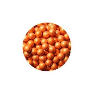 Perle chocolatée 10 mm - Orange perlé