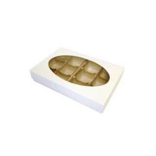 Boite pour chocolat blanche insertion 12 morceaux