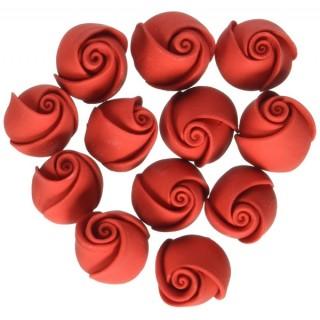 Bouton de rose rouge en glaçage