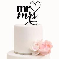 Ornement Acrylique noir - Mr Mrs avec coeur