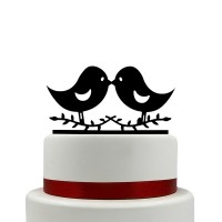 Ornement Acrylique noir - Couple d'oiseaux