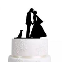 Ornement Acrylique noir - Couple avec chien