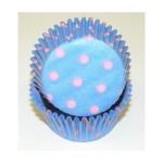 Moule en papier Bleu pâle à pois rose