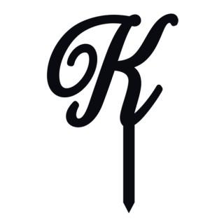 """Monogramme Acrylique noir 1.75"""" - Lettre K"""