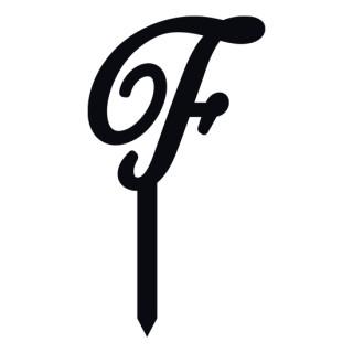 """Monogramme Acrylique noir 1.75"""" - Lettre F"""