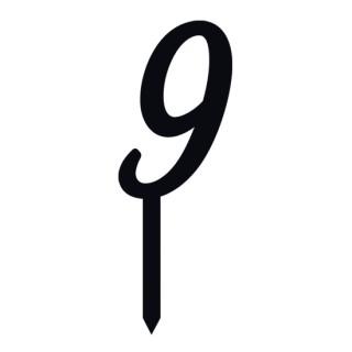 """Monogramme Acrylique noir 2"""" - Chiffre 9"""