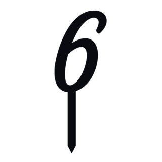 """Monogramme Acrylique noir 2"""" - Chiffre 6"""