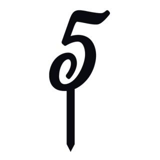"""Monogramme Acrylique noir 2"""" - Chiffre 5"""