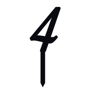 """Monogramme Acrylique noir 2"""" - Chiffre 4"""