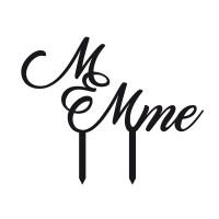 Ornement Acrylique noir - M Mme