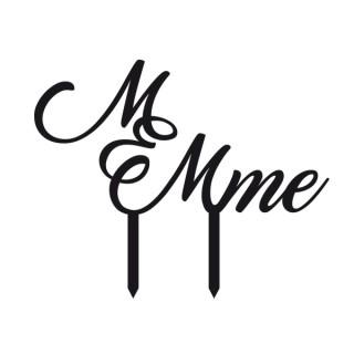 Ornement Acrylique noir - M & Mme