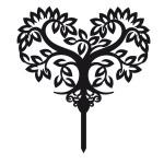 Ornement Acrylique noir - Arbre en coeur