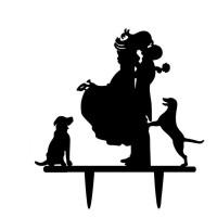 Ornement Acrylique noir - Couple avec chiens