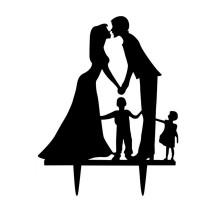 Ornement Acrylique noir - Couple avec enfants