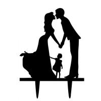 Ornement Acrylique noir - Couple avec fillette