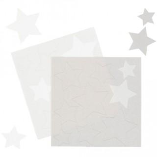 Feuille de sucre - Étoile blanche et argent