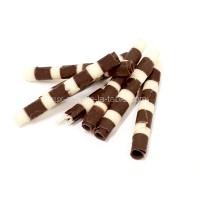 Petits rouleaux de chocolat Noir / Ivoire