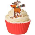 Rudolph en ski en papier de riz comestible