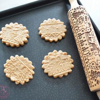 Rouleau embosseur en bois Bonhomme de pain d'épices