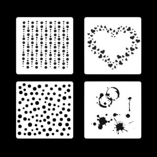Ensemble Pochoirs à biscuit - Points, splash, coeur