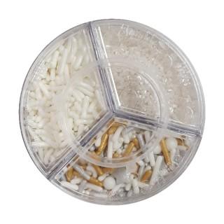 Sucre et perles à parsemer - Assortiment Blanc et or