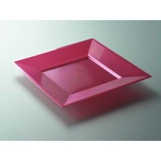 "Assiette carrée Rose Magenta 9.5"""