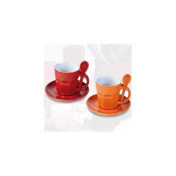 tasses caf intermezzo rouge et orange. Black Bedroom Furniture Sets. Home Design Ideas