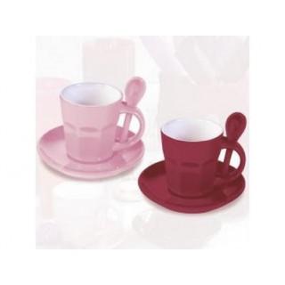 Tasses à café Intermezzo - Rose et bourgogne