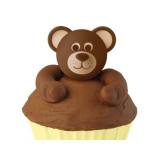 Figurine pour cupcake Tête d'ourson 3-D