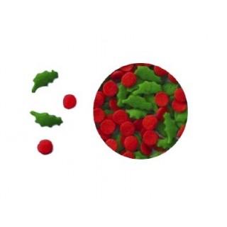 Mini sucre Feuille de houx et baie rouge