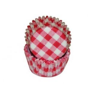 Mini moule en papier Vichy rouge et blanc