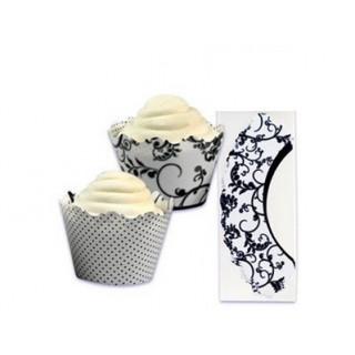 Wrap à cupcake réversible Dentelle et pois noir