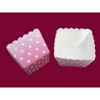 Moule carré en carton dentelé - Rose à pois