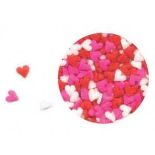 Mini coeur rose, rouge, blanc en sucre