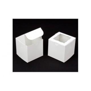 """Boite carrée blanche pour gâteau et cupcake 4"""""""
