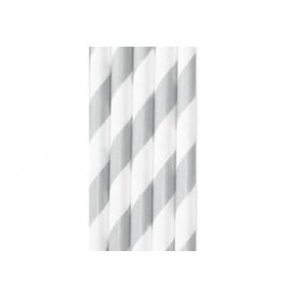 Baton à cake pops / Paille - Rayure argent