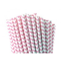 Baton à cake pops / Paille - Chevron rose