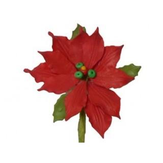 Poinsettia rouge en pastillage
