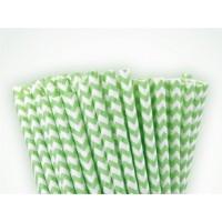 Baton à cake pops / Paille - Chevron vert lime
