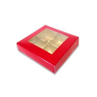 Boite rouge avec fenêtre 4 chocolats