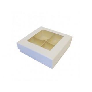 Boite blanche avec fenêtre 4 chocolats