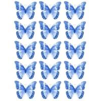 Papillon Bleu comestible en papier de riz