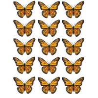 Papillon Orange comestible en papier de riz