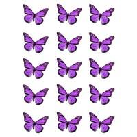 Papillon Violet comestible en papier de riz