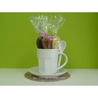 Ensemble cadeau Tasse à café et Crispearls - Blanc