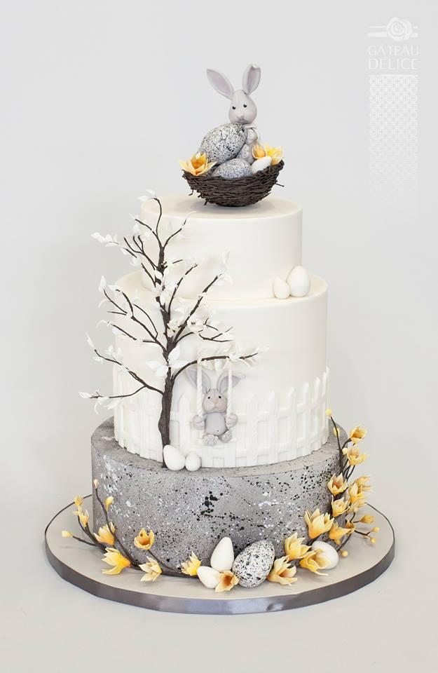 Gâteau de Pâques par Gâteau Délice réalisé pour la boutique d'accessoires de gâteaux et de pâtisseries de Québec, Aux Arts de la Table.