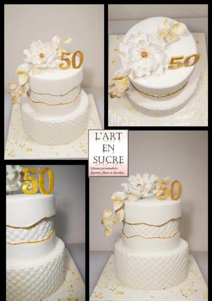 Gâteau Fault line en fondant par L'Art en sucre